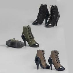 1:6 Girls Shoes Lace-up High Heeled Ankle Boots for 12 Inch
