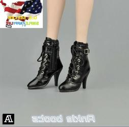 """1/6 women black ankle boots for phicen verycool hot toys 12"""""""
