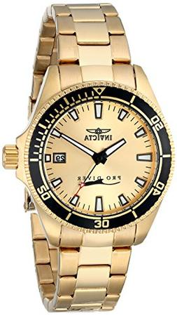 """Invicta Women's 15138SYB """"Pro Diver"""" 18k Gold Ion-Plated Div"""