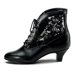 "2"" Black Lace Up Victorian Steampunk Low Granny Ankle Boots"