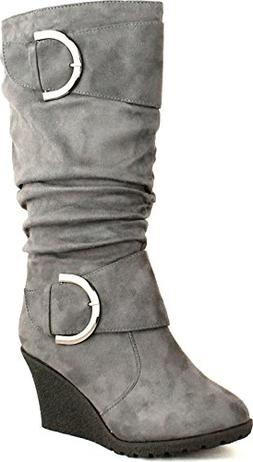 a81ed2cfe17c Top Moda Pure 2 Womens Buckle Slouch Wedge Boots Grey 7