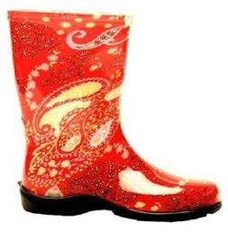 SLOGGERS 5004RD10 SIZE 10 WOMENS GARDEN BOOTS PAISLEY RED WA