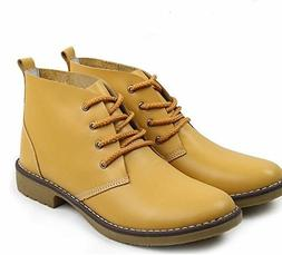 Leather Ankle Boots for Women Lace Up Casual Oxfords Shoes C