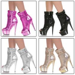 """Ankle Boots for Women 6"""" High Heel Stiletto Sequin Sexy Open"""