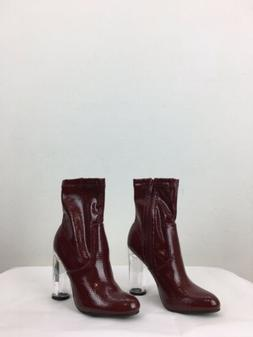 """Ankle Boots With Clear 4 1/4"""" Heel By Forever Link Burgund"""