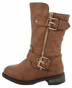 JJF Shoes Baby Girls Dual Buckle/Zip Quilted Back Mid Calf M