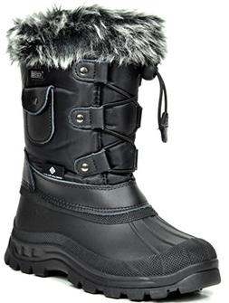 DREAM PAIRS Big Kid Ksnow Black Isulated Waterproof Snow Boo