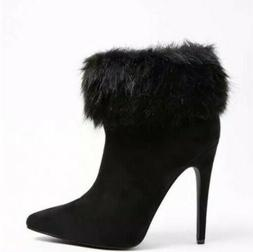 Forever 21 Black Faux Fur Cuff Suede Booties Ankle Boots Siz
