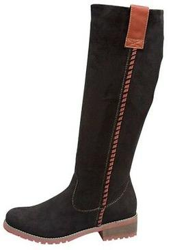 Top Moda Black Faux Suede Knee High Womens Zip Boots LE-16