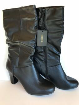 Forever 21 Black Heeled Mid Calf Boots Women Size 10