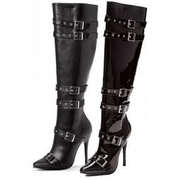 Black High Heel Boots with Buckle Straps Adult Womens Shoes