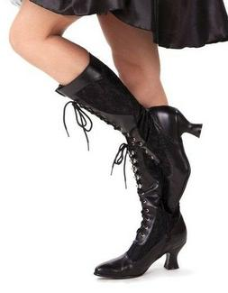 Black Lace Up Victorian Edwardian Steampunk Costume Shoes Bo