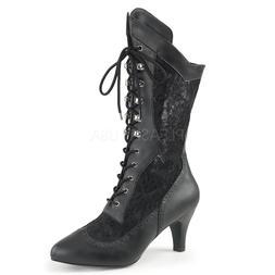 Black Lace Up Victorian Steampunk Costume Boots Wide Calf Wo