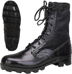 Black Leather Military Jungle Boots Panama Sole Tactical Com