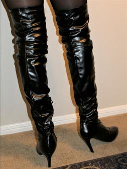Black, Over-the-Knee, Faux Leather High Heel Boots, Size 13
