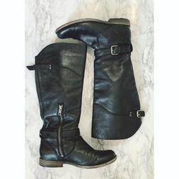 Frye Black Phillip Tall Riding Buckle Boots Women's Size7B