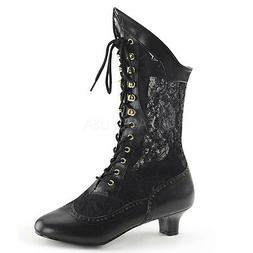Black Vintage 1920s Flapper Girl Lace Up Steampunk Boots Wom