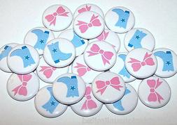 Blue Boots Pink Bows Gender Reveal Shower Pins Buttons Party