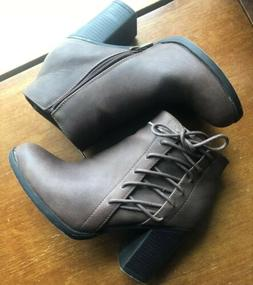 Toetos Booties Ankle Boots 7.5 Dark Brown Faux Leather Block