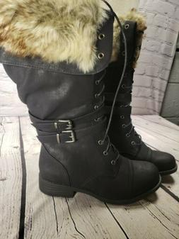 Global Win Boots Black Mid-Calf Lace Up Faux Fur Zip Double