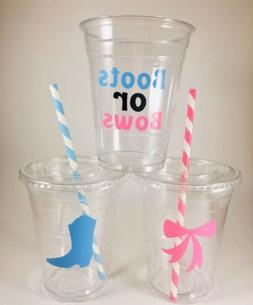 Boots or Bows Party Cups SET OF 12 With Lids/Straws Baby Gen