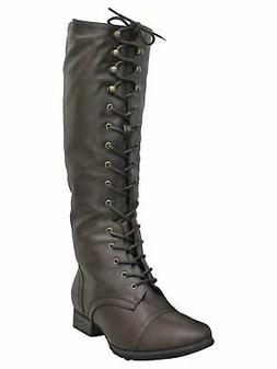 BROWN TALL COMBAT KNEE HIGH BOOTS FOR WOMEN