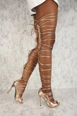 C & C Denise Sexy Rose Gold Strappy Tie Up Laces Gladiator T