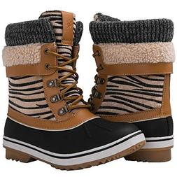 GLOBALWIN Women's Camel Zebra Stripe Winter Snow Boots 6.5M