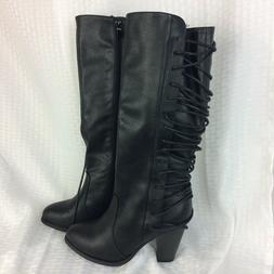 Forever Camila-33 Black  T Knee High Lace up Boots Women's S