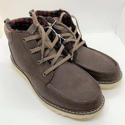 Cat & Jack boys casual chukka boots with ties-brown-size 6-N