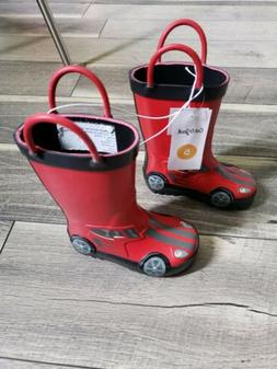 Cat and Jack Boys Firetruck Boots Size 5.