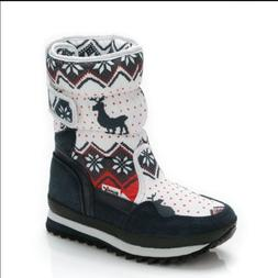 Cute Christmas Shoes For Girls Warm Winter Boots Deer Print