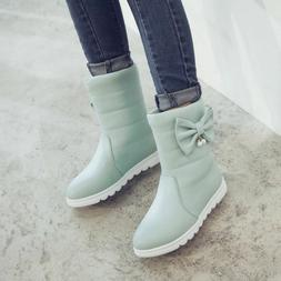 Cute Snow Boots For Girls Winter Teens Boots Slip-on Butterf