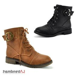 Fashion Ladies Military Combat Ankle Boots Lace Up Zipper To