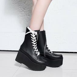 FASHION Women Ankle Boots Real Leather Platform Wedges Lace