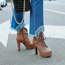 FASHION Women Ankle Boots Studded High Heel Boots Zip Shoes