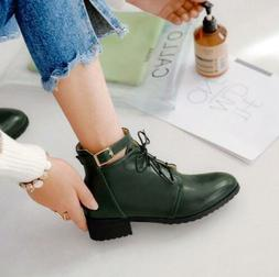 Fashion Women Buckle Block Med Heel Lace Up Ankle Boots S9 L