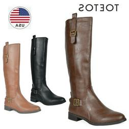 TOETOS Fashion Women's Faux Leather Knee High Winter Riding