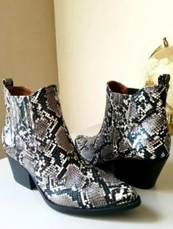 Indigo Faux Snake Print Western- Inspired Silhouette Boots.