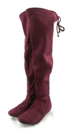 Forever Boots Womens Red Knee High Faux Suede