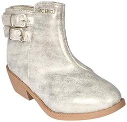 girls distressed metallic ankle boot silver 13