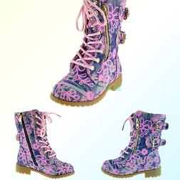 Forever Link Girls Mango 61K Lace Up Boots | Combat Boots fo