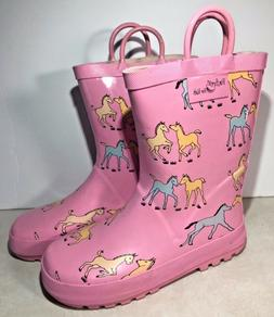 Foxfire for Kids Girls Pink Ponies Rubber Rain Boots Size 13