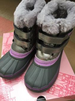LONDON FOG GIRLS SNOW BOOTS TOTTY GRAY/SILVER/LAVENDER SIZE