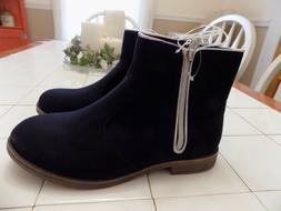 Girls Youth Cat & Jack Ankle Boots Navy Blue With Silver Tri