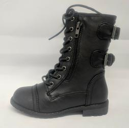 Girls Youth Kids Black Lace Up Zipper Military Combat Boot #