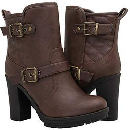 Globalwin Women's 18YY36 Brown High Heel Fashion Ankle Boots