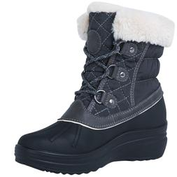 Globalwin Women's 1823 Grey Winter Snow Boots