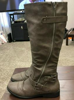 Rampage Gray Riding Boots Women's Size 9.5