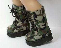 """GREEN BROWN BLACK Camouflage Army Boots Doll Shoes For 18"""" A"""